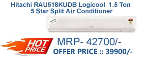 Hitachi RAU518KUDB Logicool  1.5 Ton 5 Star Split Air Conditioner