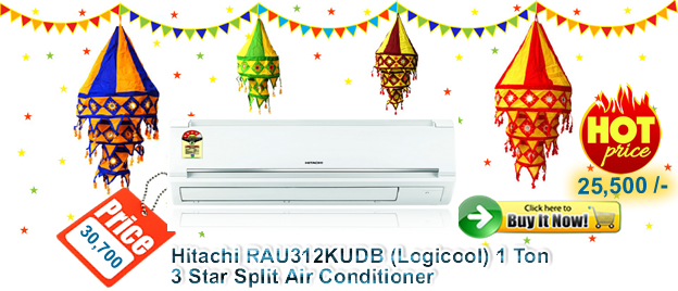 Hitachi RAU312KUDB (Logicool) 1 Ton 3 Star Split Air Conditioner
